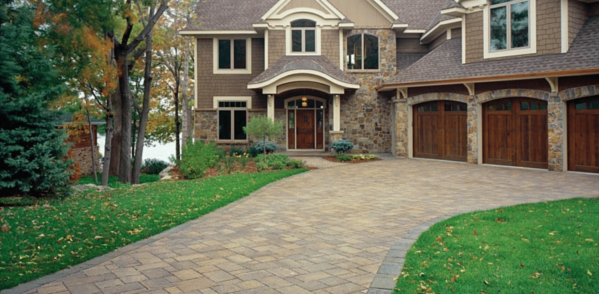 Brick Paver Driveways designed and built by Seasonal Landscape Solutions
